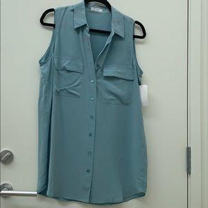 Blue Sleeveless Equipment Silk Top Size Small